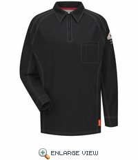 QT12BK iQ Series® Men's Black Long Sleeve Polo