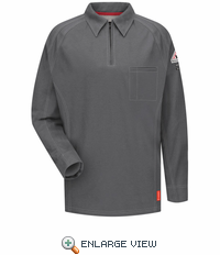 QT12CH iQ Series® Men's Charcoal Long Sleeve Polo