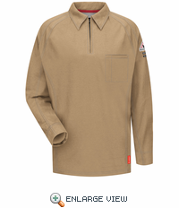 QT12KH iQ Series® Men's Khaki Long Sleeve Polo