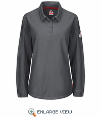QT15CH iQ Series® Charcoal Women's Long Sleeve Polo