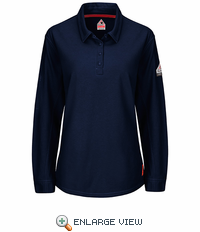 QT15DB iQ Series® Dark Blue Women's Long Sleeve Polo