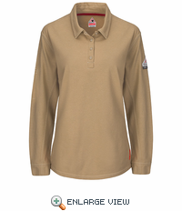 QT15KH iQ Series® Khaki Women's Long Sleeve Polo