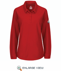 QT15RD iQ Series® Red Women's Long Sleeve Polo