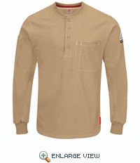 QT40KH iQ Series® Plus Khaki Long Sleeve Henley