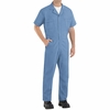 Red Kap CP40MB Medium Blue Short Sleeve Poplin Jumpsuit