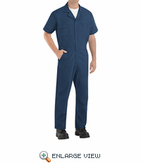 Red Kap CP40NV Navy Short Sleeve Poplin Jumpsuit