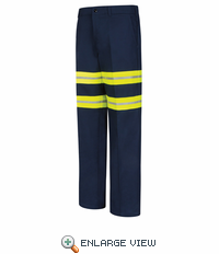 Red Kap PC20EN Enhanced Visibility Wrinkle-Resistant Cotton Pants - Navy with Visibility Trim