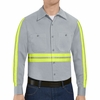 Red Kap SC30EG Men's Enhanced Visibility Long Sleeve Cotton Work Shirt - Grey
