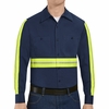 Red Kap SC30EN Men's Enhanced Visibility Long Sleeve Cotton Work Shirt - Navy