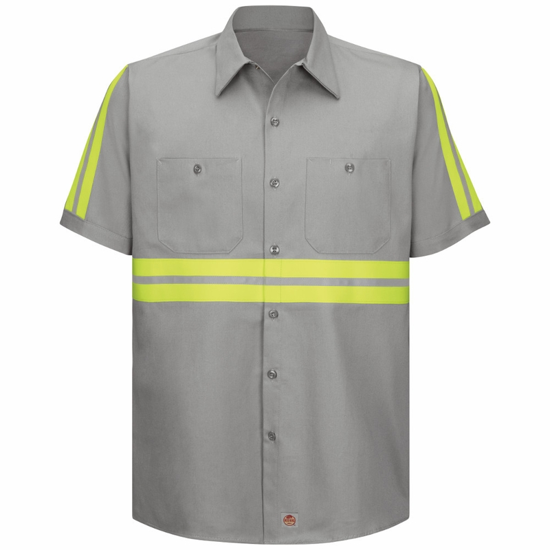Red Kap Sc40eg Men 39 S Enhanced Visibility Short Sleeve