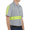 Red Kap SC40EG Men's Enhanced Visibility Short Sleeve Cotton Work Shirt - Grey