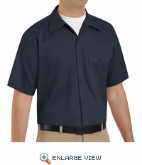SC40DN Short Sleeve Dark Navy Wrinkle Resistant Cotton Shirt