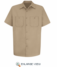 SC40KH Short Sleeve Khaki Wrinkle Resistant Cotton Shirt