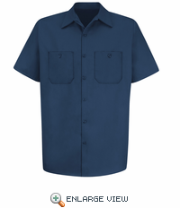 SC40NV Short Sleeve Navy Wrinkle Resistant Cotton Shirt