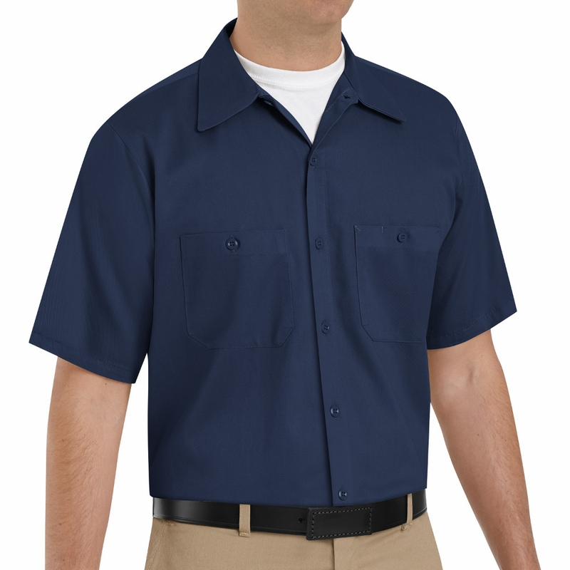 Sc40nv short sleeve navy wrinkle resistant cotton shirt for How do wrinkle free shirts work