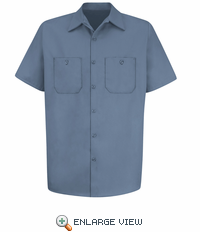 SC40PB Short Sleeve Postman Blue Wrinkle Resistant Cotton Shirt