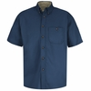 SC64NV Short Sleeve Navy/Stone Cotton Twill Casual Contrast Shirt