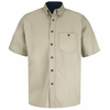 SC64ST Short Sleeve Stone/Navy Cotton Twill Casual Contrast Shirt