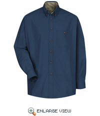 SC74NV Long Sleeve Hunter Navy/Stone Cotton Twill Casual Contrast Shirt