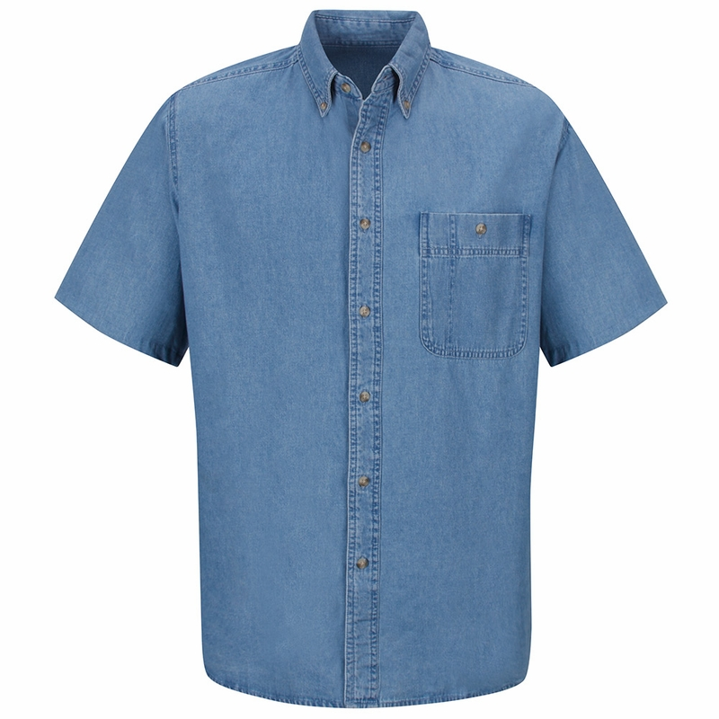 Sd20 men 39 s wrangler short sleeve denim shirt for Short sleeved shirts for men