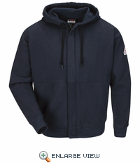SEH4NV Navy Zip-Front Hooded Sweatshirt - Cotton/Spandex Blend