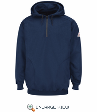 SEH8NV Pullover Navy Hooded Fleece Sweatshirt with 1/4 Zip