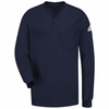 SEL2NV EXCEL- FR Long Sleeve Navy Henley Shirt
