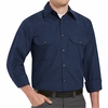 SH10NV Long Sleeve Heathered Navy Poplin Shirt