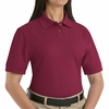 SK11BU  Ladies Burgundy Cotton/Polyester Blend Pique Knit Shirt-Pocketless