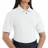 SK11WH Ladies White Cotton/Polyester Blend Pique Knit Shirt-Pocketless
