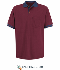 SK14BN Short Sleeve Burgundy/Navy Performance Knit® Polo Contrast Trim