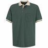 SK14HT Short Sleeve Hunter Green/Tan Performance Knit® Polo Contrast Trim