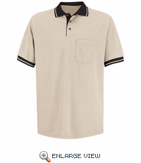 SK14TB Short Sleeve Tan/Black Performance Knit® Polo Contrast Trim