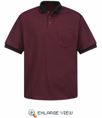 SK52BR Short Sleeve Burgundy/Black Performance Knit® Twill Polo Shirt