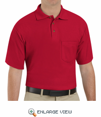 SK82RD Cotton/Polyester Red Blend Knit Pique Shirt-With Pocket