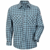 SLD6TL Excel Flame Resistant ComforTouch Teal/Brown Plaid Uniform Shirt