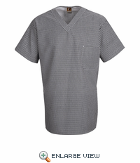 SP08WB Black & White Check V-Neck Chef Shirt