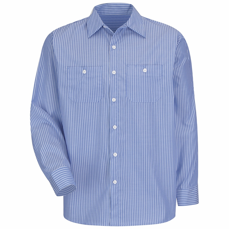 Sp10bw long sleeve industrial gm blue white stripe work shirt for Blue and white long sleeve shirt