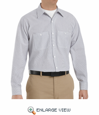 SP10CW Long Sleeve Charcoal/White Stripe Industrial  Work Shirt
