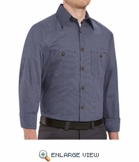 SP10EX  Long Sleeve Blue/Charcoal Micro-Check Work Shirt