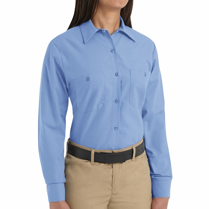 Sp13lb women 39 s solid light blue long sleeve industrial for Blue button up work shirt