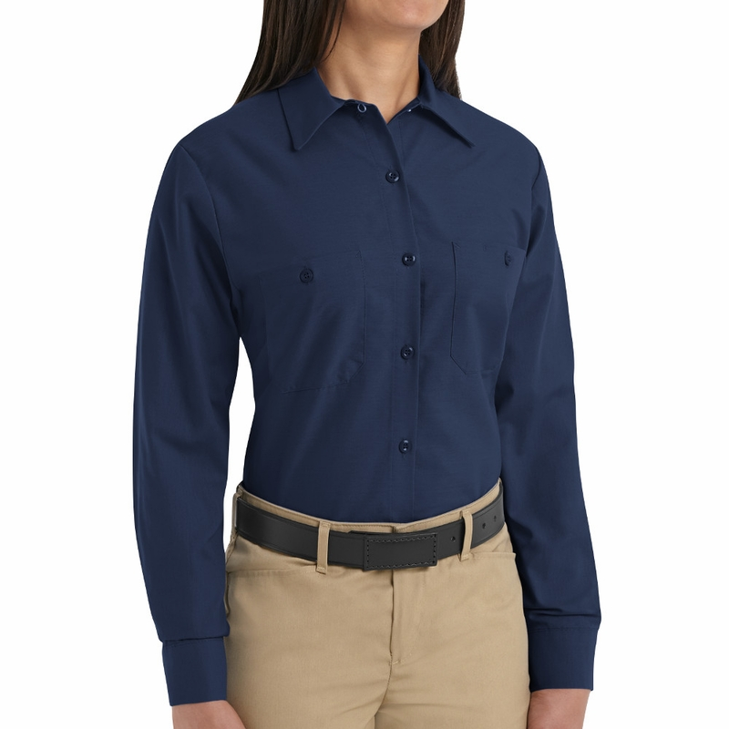 Sp13nv Women 39 S Solid Navy Long Sleeve Industrial Work Shirt