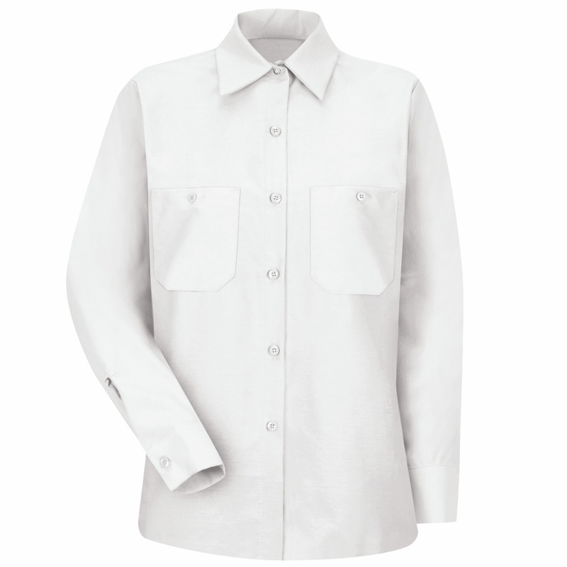 SP13WH Women's Solid White Long Sleeve Industrial Work Shirt