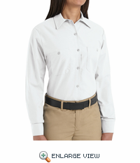 SP13WH Women's White Long Sleeve Work Shirt