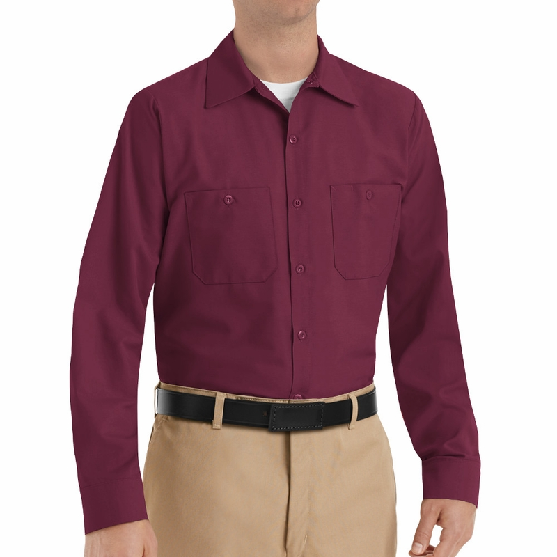 SP14BK Men's Burgundy Long Sleeve Industrial Work Shirt