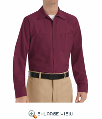 SP14BY Men's Burgundy Long Sleeve Industrial Work Shirt