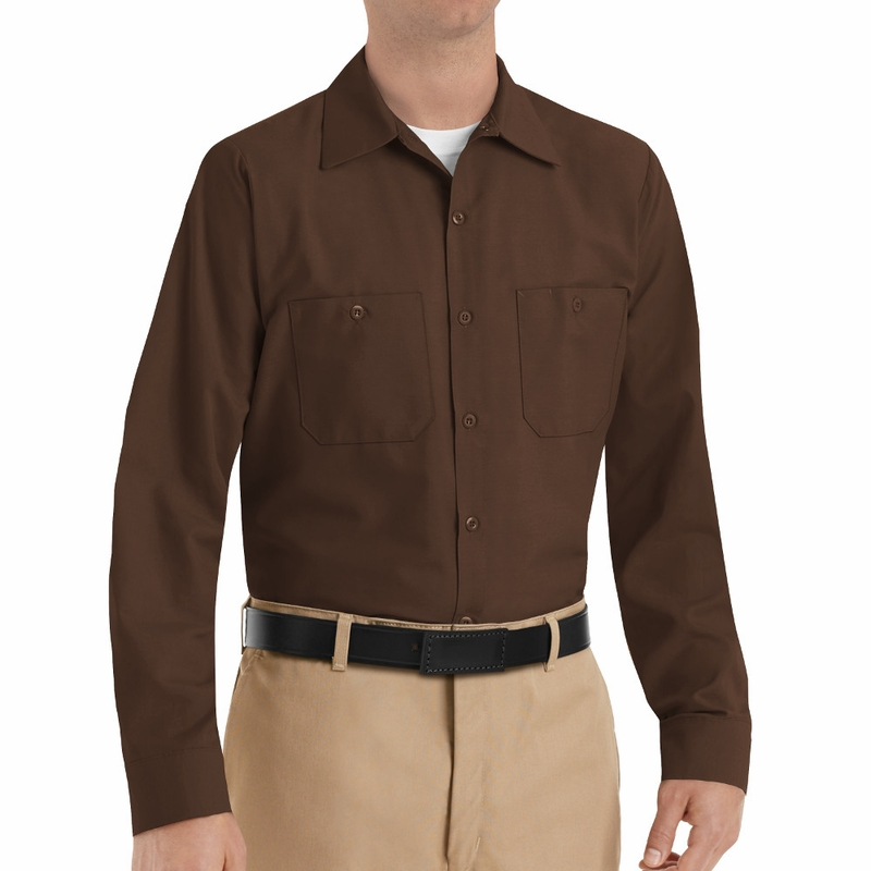 SP14CB Men s Chocolate Brown Long Sleeve Industrial Work Shirt 0caa92b62f0