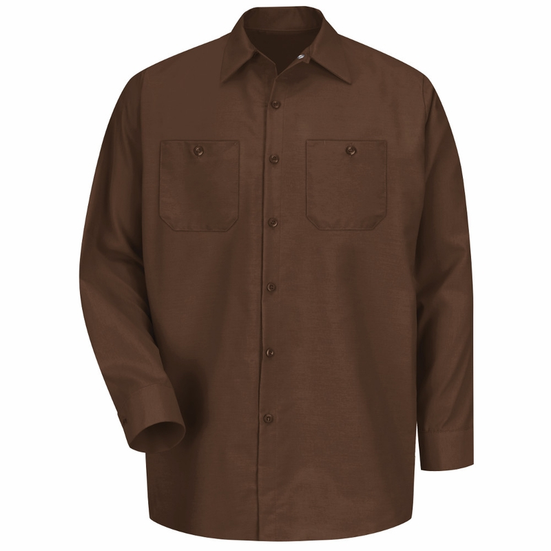 Sp14cb men 39 s chocolate brown long sleeve industrial work shirt for Mens chocolate brown shirt