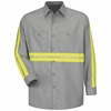 SP14EG Long Sleeve Enhanced Visibility Industrial Grey Work Shirt