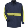 SP14EN Long Sleeve Enhanced Visibility Industrial Navy Work Shirt